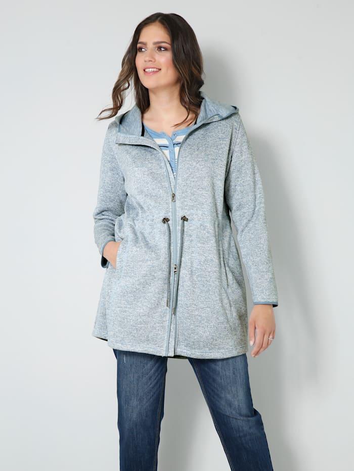 Janet & Joyce Strickfleece-Jacke mit weitenverstellbarem Taillenzug, Hellblau