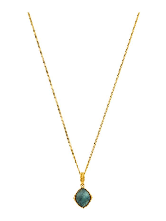 Anhänger mit Kette aus Silber 925, vergoldet, Grün