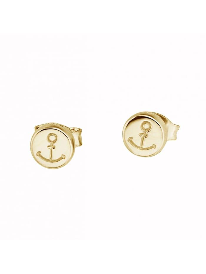 CAI Ohrstecker 925/- Sterling Silber ohne Stein 0,6cm Glänzend, gelb