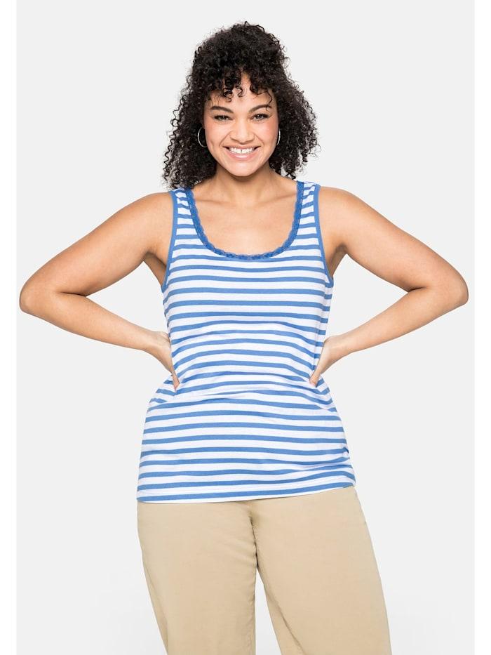 Sheego Tanktop mit Spitze am Ausschnitt, jeansblau-weiß