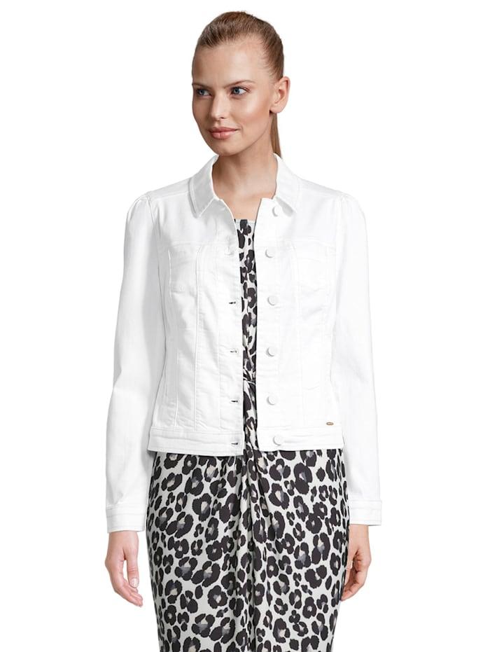 Betty & Co Jeansjacke mit Raffung Kontraststeppung, Weiß
