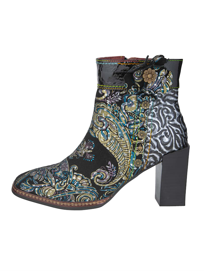 Stiefelette in Ornament-Optik