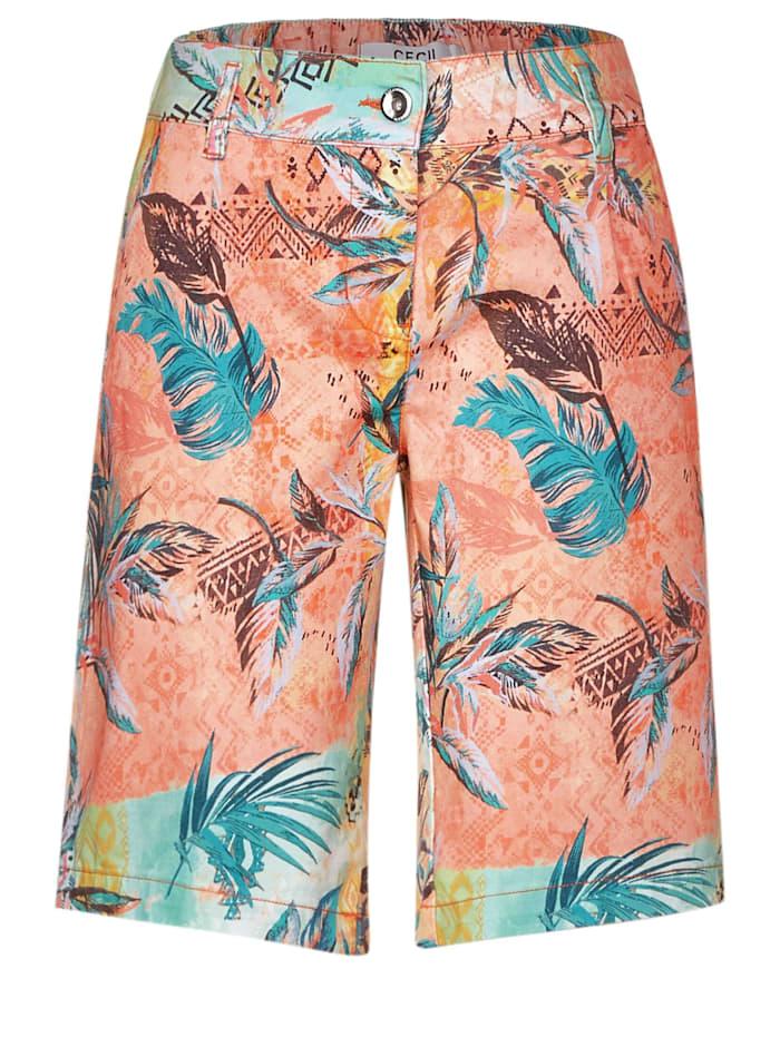 Cecil Shorts mit tropischem Muster mit Tropical-Print, cantaloupe orange