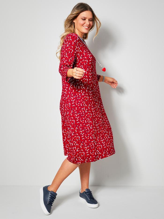 Janet & Joyce Jerseykleid mit Ringelbund am Ausschnitt, Rot/Marineblau
