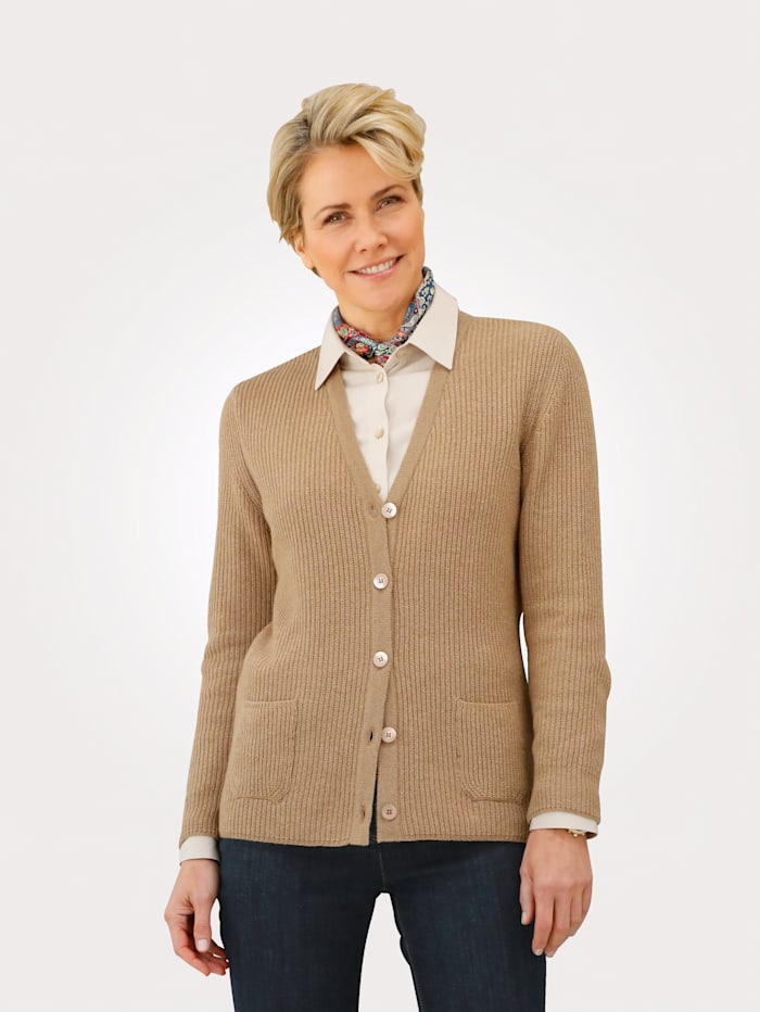 MONA Cardigan with a hint of cashmere, Camel