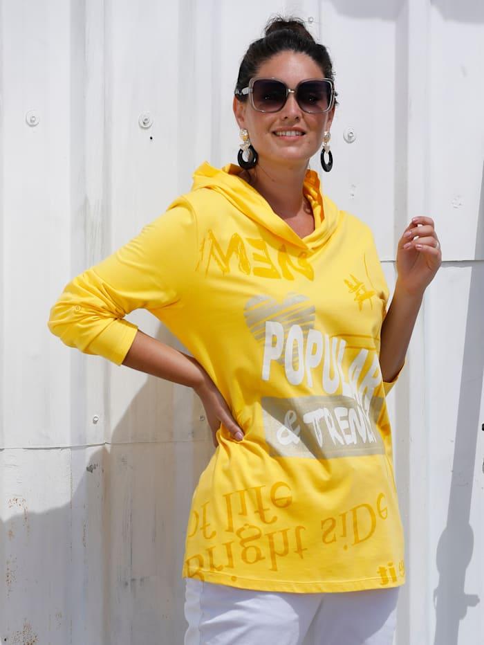 MIAMODA Shirt mit Kapuze, Gelb