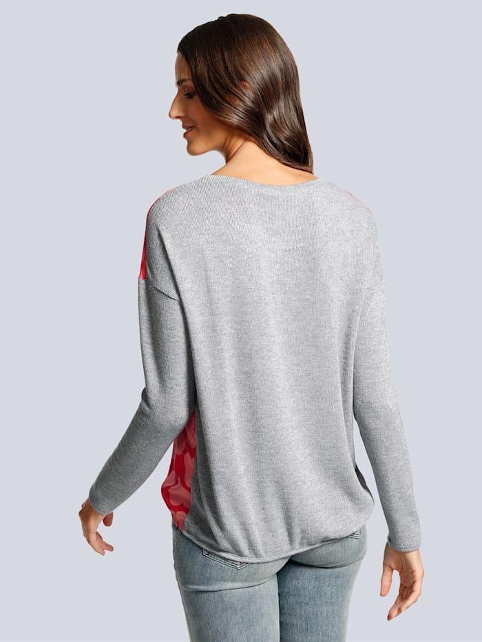 Shirt in einem Materialmix aus Web und Strick