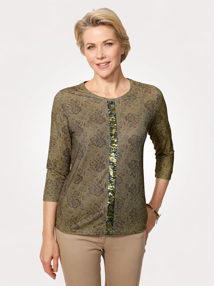 MONA T-shirt à fil brillant, Olive