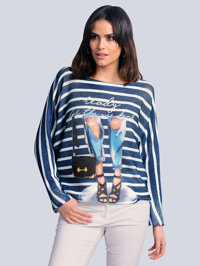 Alba Moda Pullover aus reiner Baumwolle, Blau/Off-white