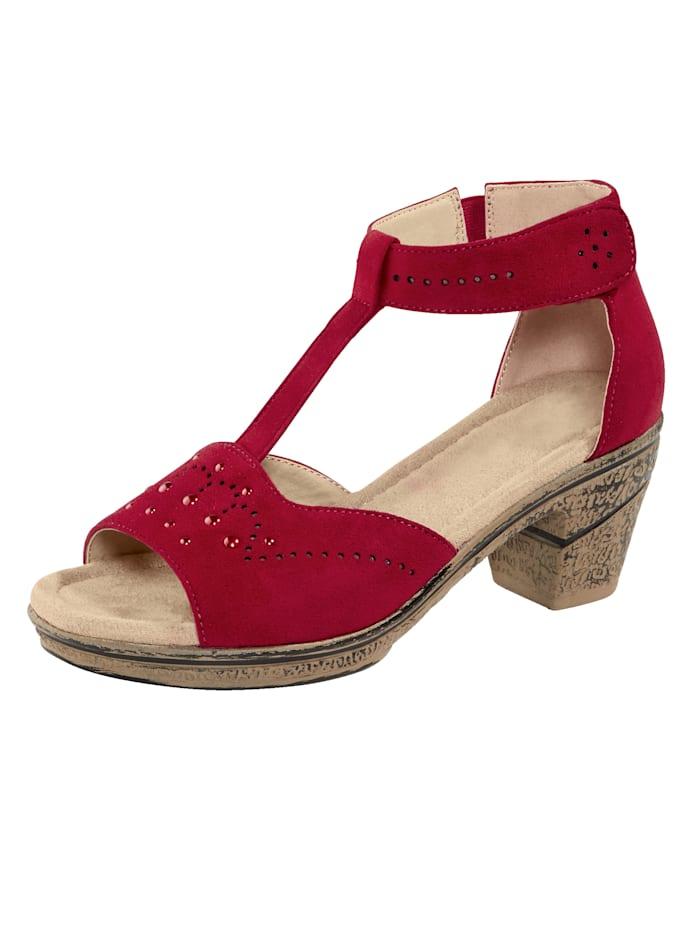 Liva Loop Sandaaltje met klittenband aan de hiel, Rood