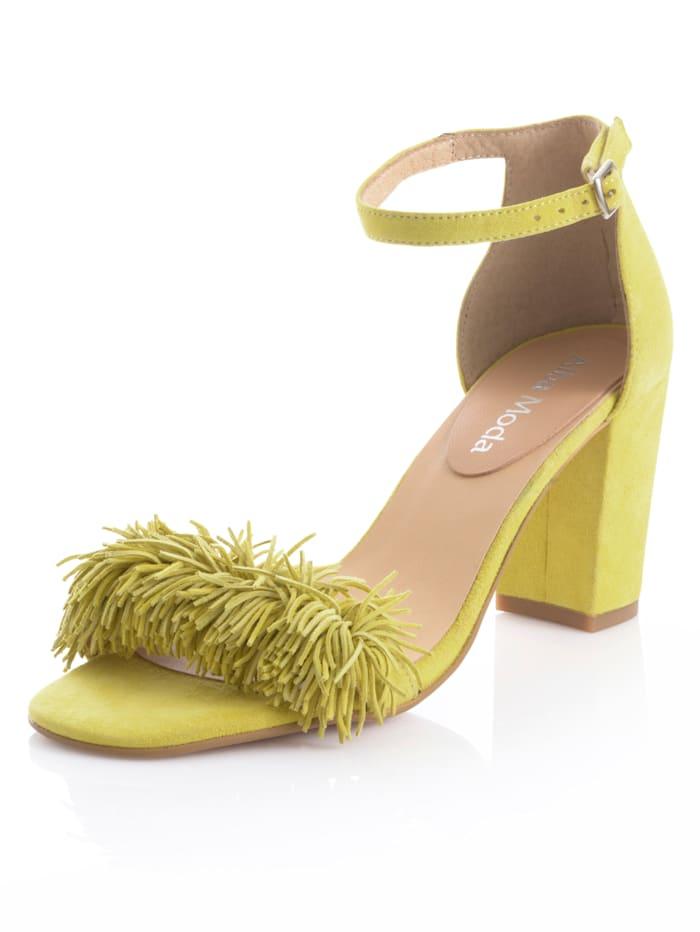 Alba Moda Sandaaltje met fijne franjes, Geel