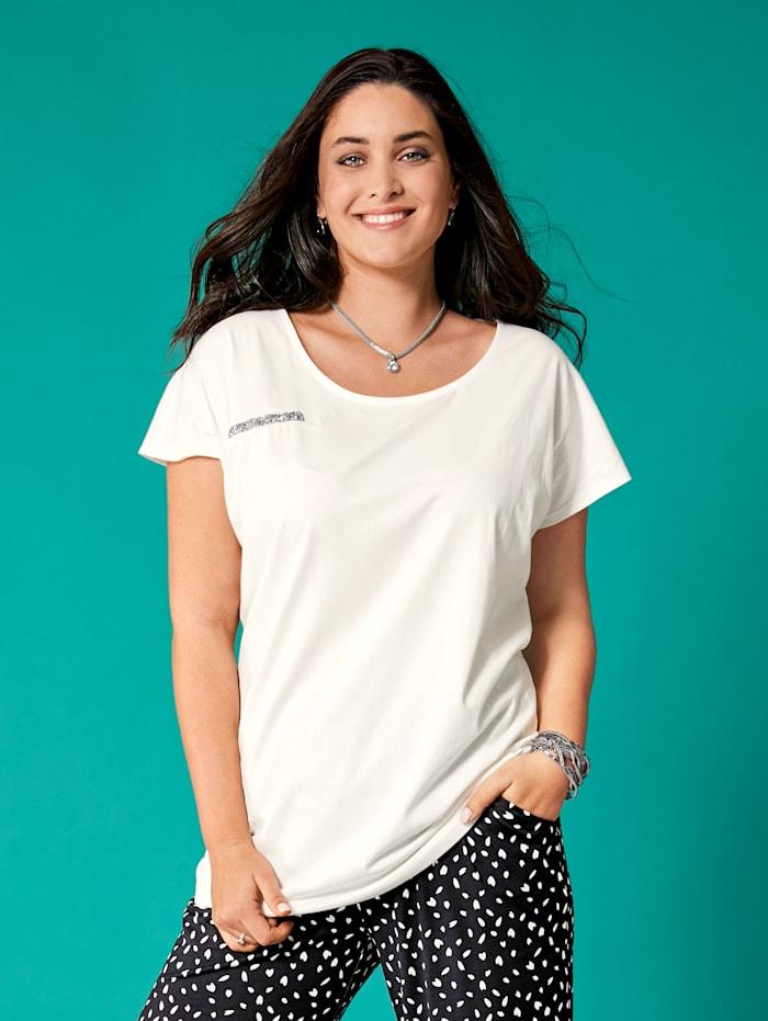 MIAMODA Shirt vorne mit glitzerndem Dekoband, Weiß