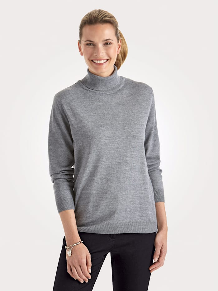 MONA Rollkragen-Pullover mit Merino-Schurwolle, Silbergrau