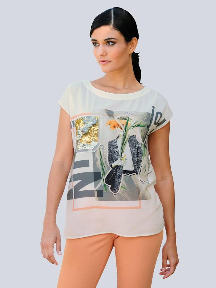 Alba Moda T-shirt à motif placé, Blanc cassé/Beige/Abricot