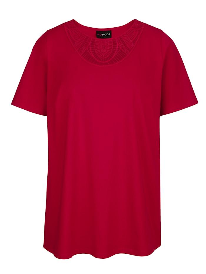 MIAMODA Shirt met transparant kant aan de hals, Rood