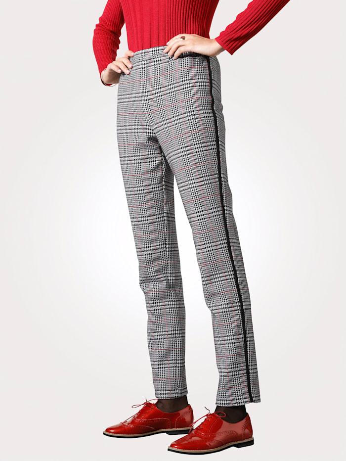 MONA Pantalon en jersey à motif carreaux Prince-de-galles, Noir/Blanc/Rouge