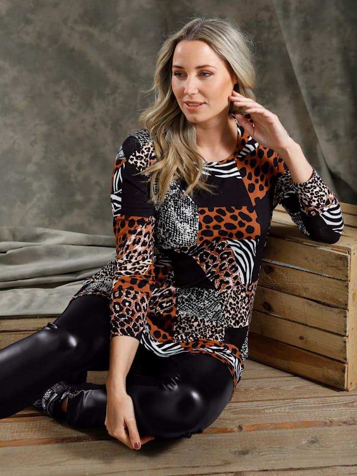 MIAMODA Longshirt met animalprint rondom, Zwart/Bruin