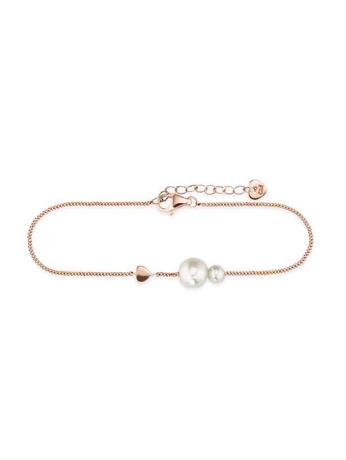 CAI Armband 925/- Sterling Silber Süßwasserzuchtperle weiß 16+3cm Glänzend, rot