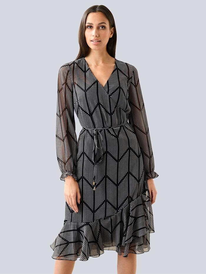 Alba Moda Kleid mit modischer Rüsche, Schwarz/Creme-Weiß