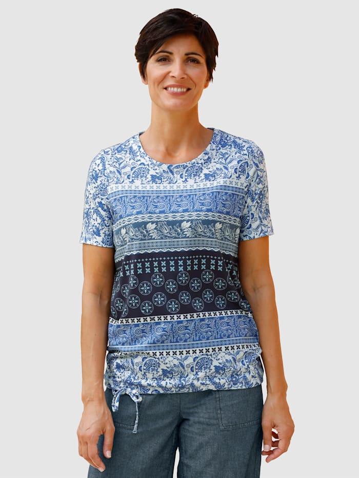 Paola T-shirt avec lien à nouer à la base, Bleu/Blanc