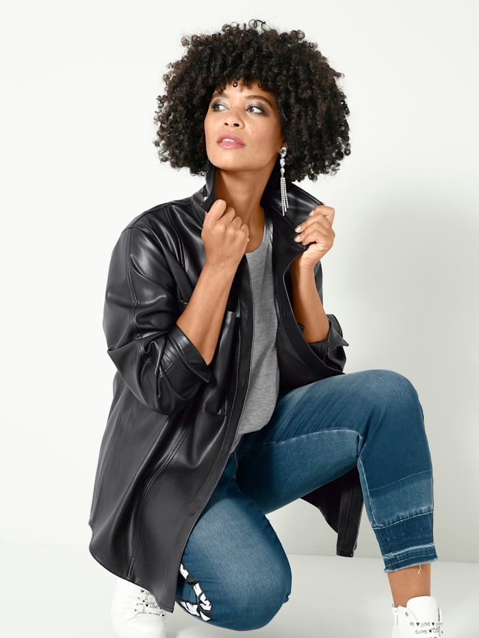 Angel of Style Lederimitat-Bluse locker offen zu tragen, Schwarz