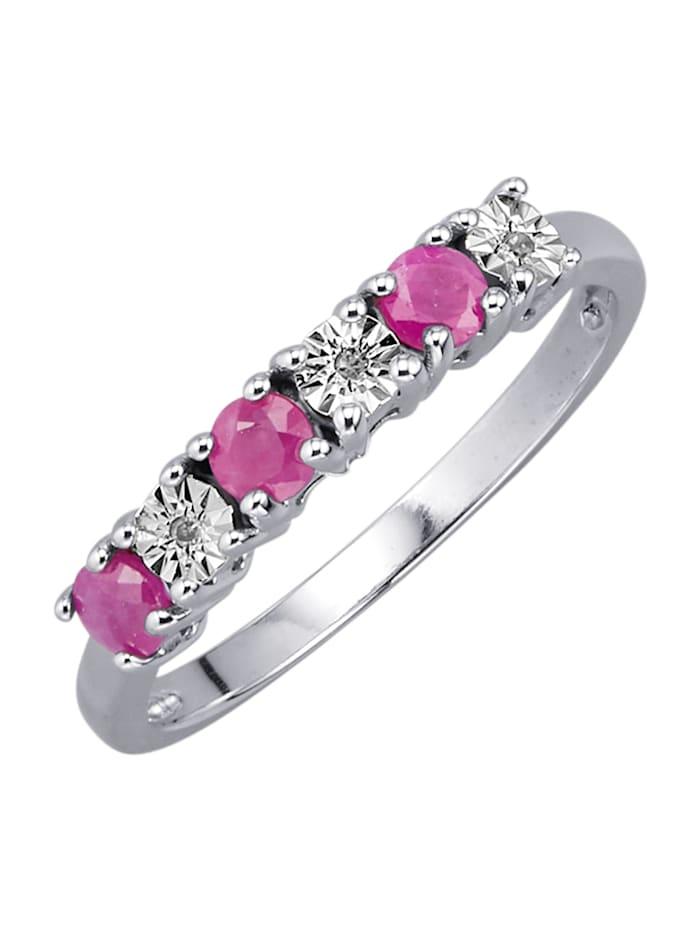 KLiNGEL Damenring mit Rubinen und Diamanten, Rot