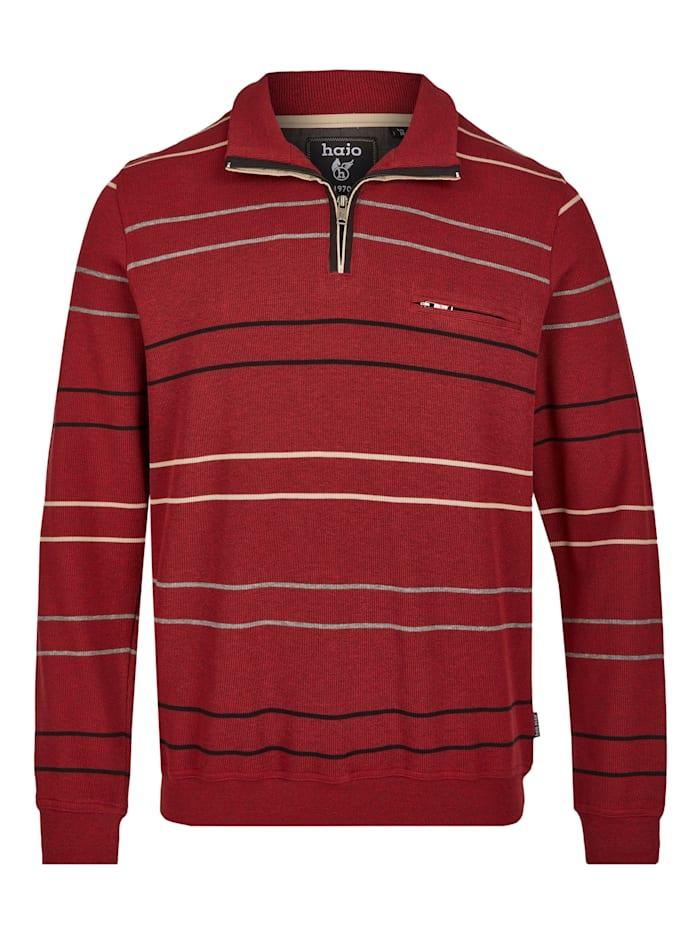 Hajo Geringeltes Sweatshirt, rotmelange