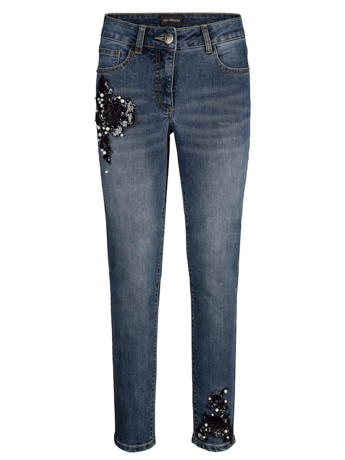 AMY VERMONT Jeans mit Perlen- und Paillettendekoration, Blue bleached