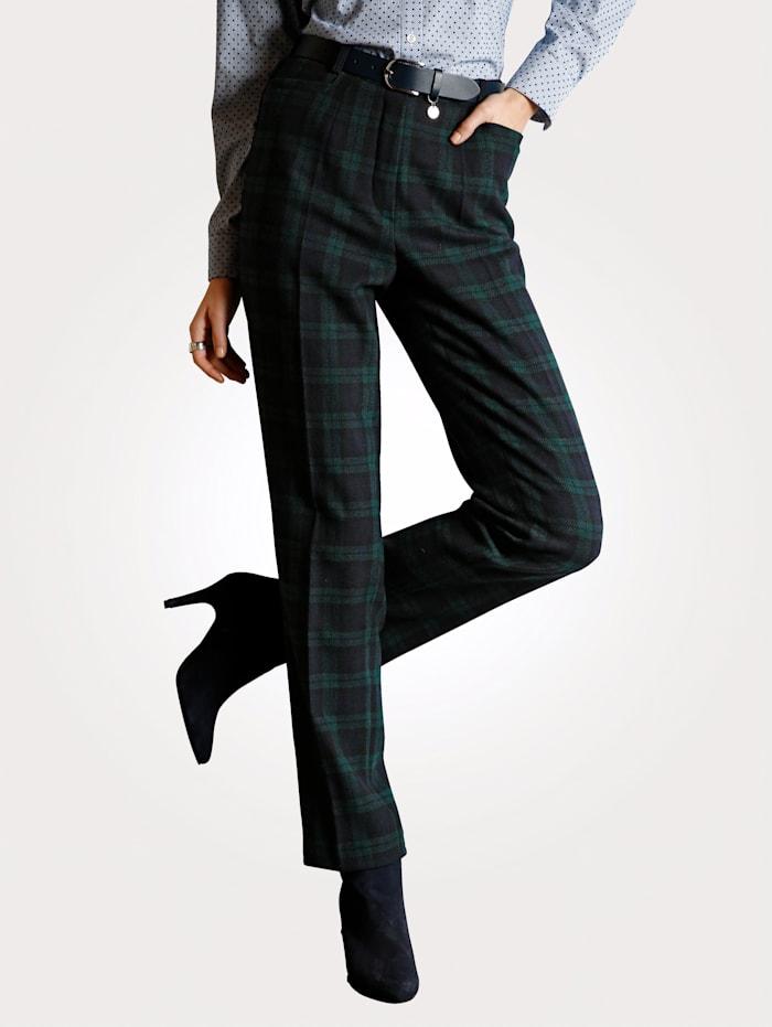 MONA Pantalon à carreaux Blackwatch, Marine/Vert foncé