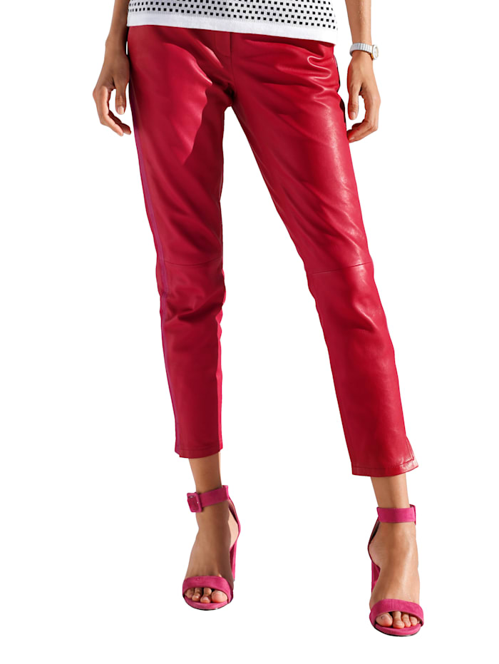 AMY VERMONT Lederhose mit Galonstreifen, Rot/Pink
