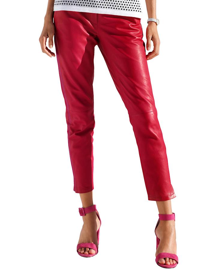 AMY VERMONT Leren broek met galonstreep, Rood/Pink
