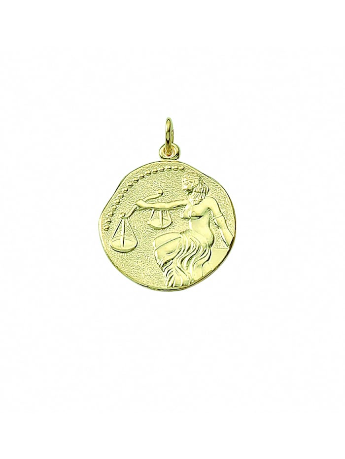 1001 Diamonds Damen & Herren Goldschmuck 333 Gold Sternzeichen Anhänger Waage Ø 18,2 mm, gold