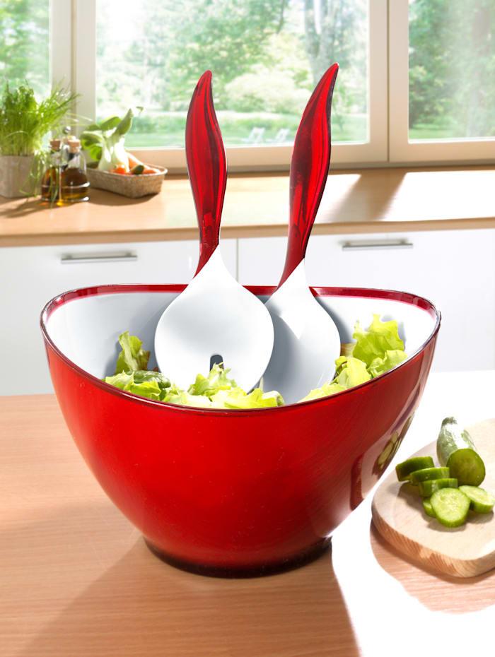 "Esmeyer 3tlg. Salatset ""Wing"", rot/weiß"
