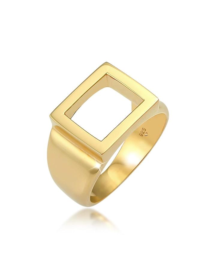 Kuzzoi Ring Siegelring Herren Rechteckig 925 Silber, Gold