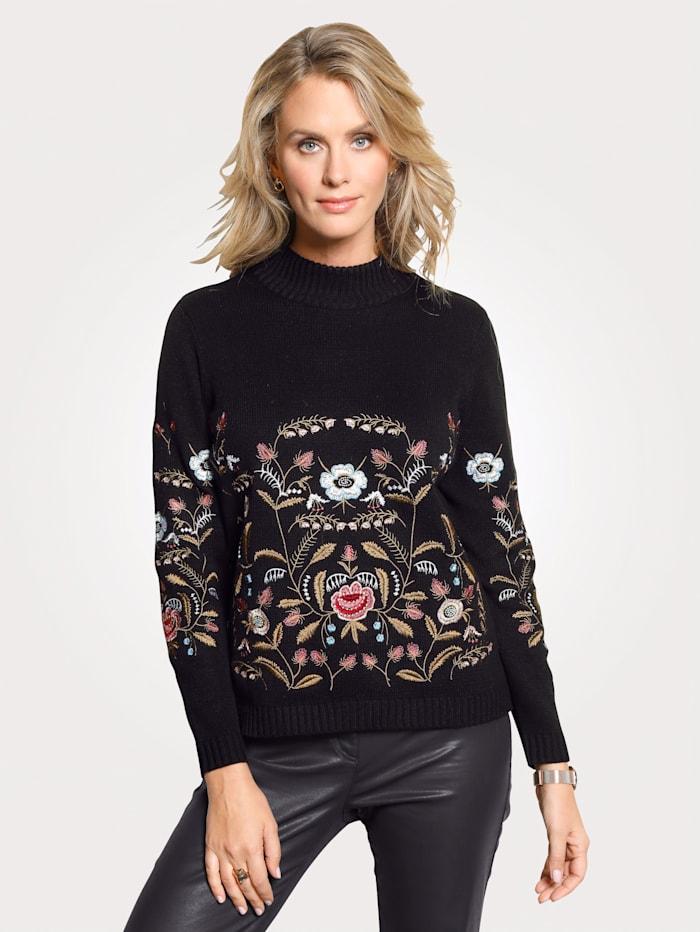 MONA Pullover mit Blumenstickerei, Schwarz/Rosé