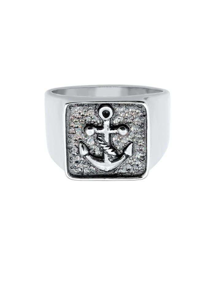 Ring Herren Siegelring Anker Basic Oxidiert 925 Silber