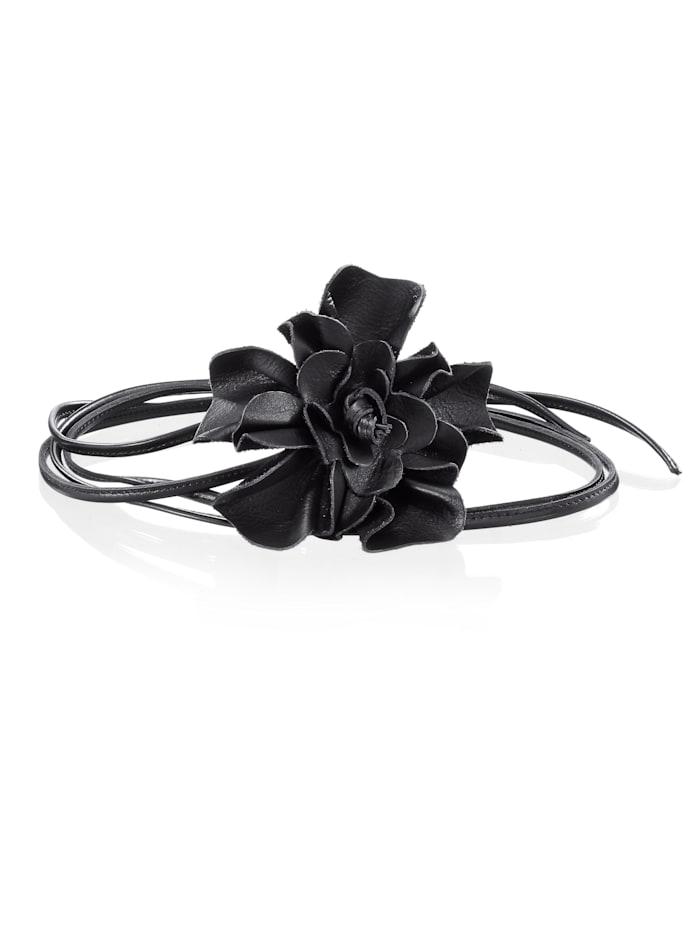 Alba Moda Bindceintuur met grote bloem, zwart