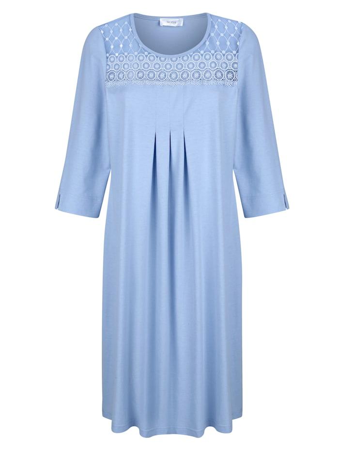 MONA Nachthemd mit schönen Raffungen im Vorderteil, Hellblau