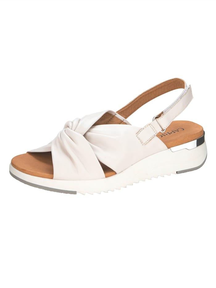 Caprice Sandale in moderner Schlaufen-Optik, Creme-Weiß