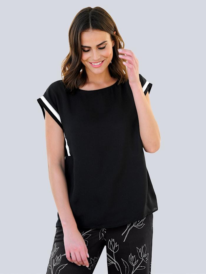 Alba Moda Bluse in moderner Aufmachung, Schwarz/Off-white