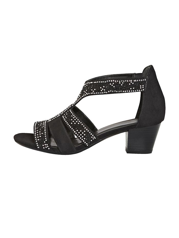 Sandale mit eleganter Steinchenzier
