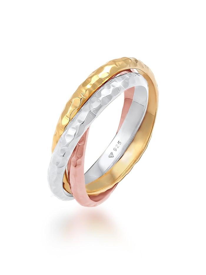Elli Ring Basic Wickelring Klassik Gehämmert 925 Silber, Bunt
