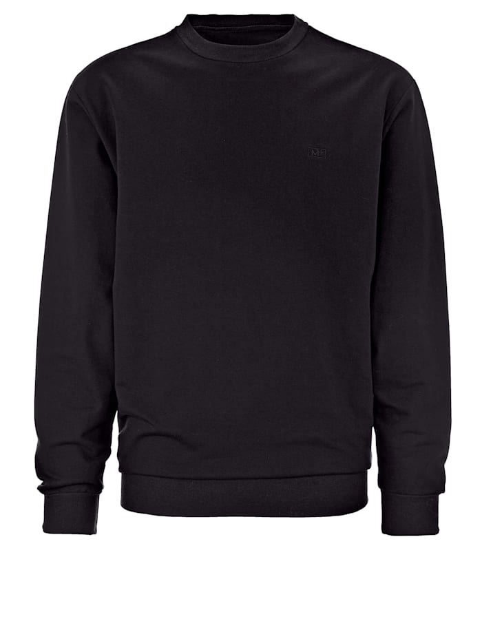 Men Plus Sweatshirt av bomull, Svart