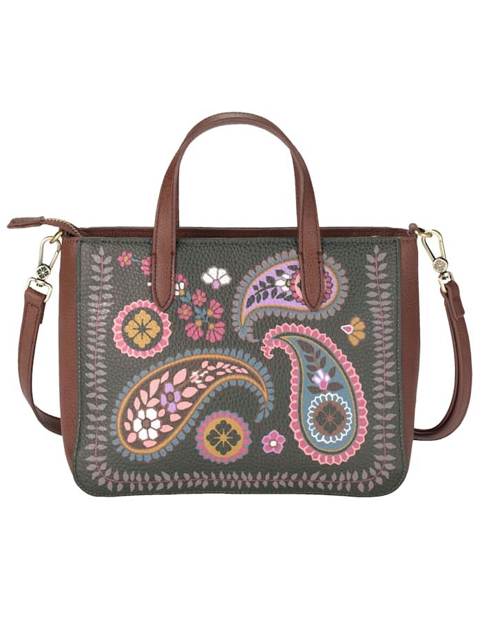 Handbag with a main handle and strap