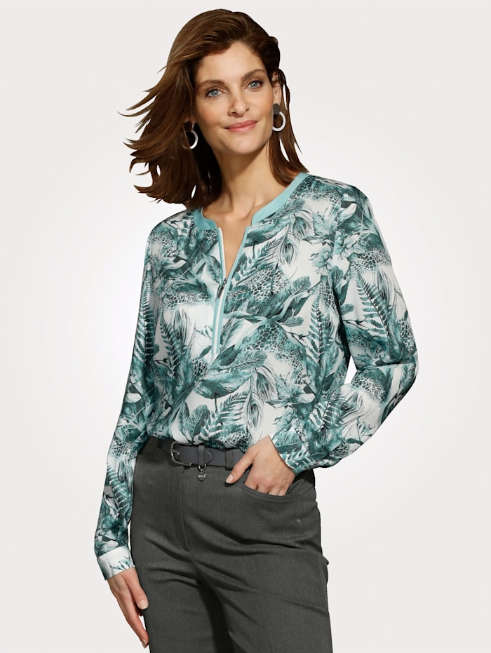 MONA Pull-on blouse with a zip placket, Mint/Grey
