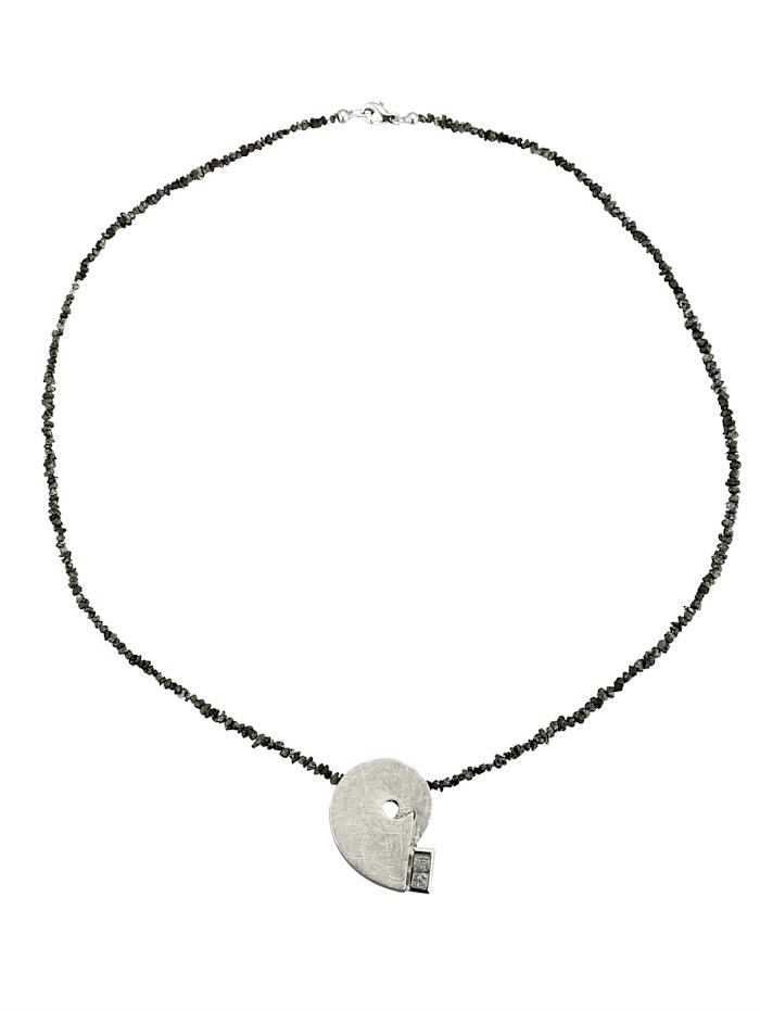 Diemer Atelier Anhänger mit Rohdiamantkette, Grau