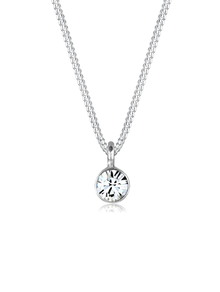 Elli Halskette Solitär Anhänger Kristall 925 Silber, Silber