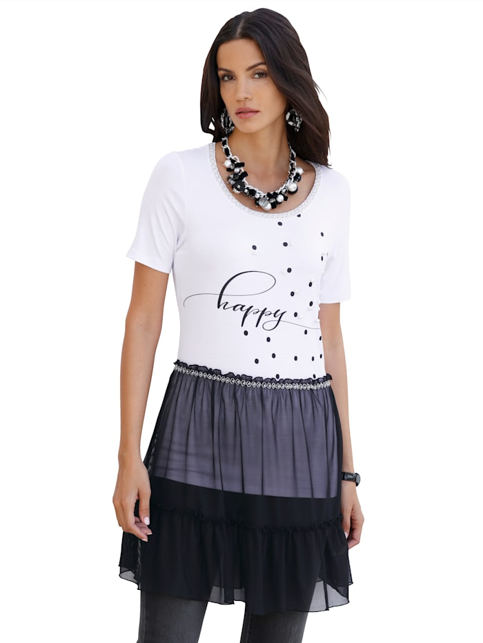 AMY VERMONT T-shirt long avec empiècement en mesh à la base, Blanc/Noir