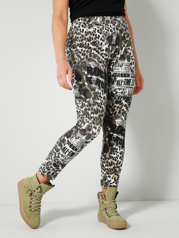 Angel of Style Leggings Animal Print, Off-white/Khaki/Schwarz