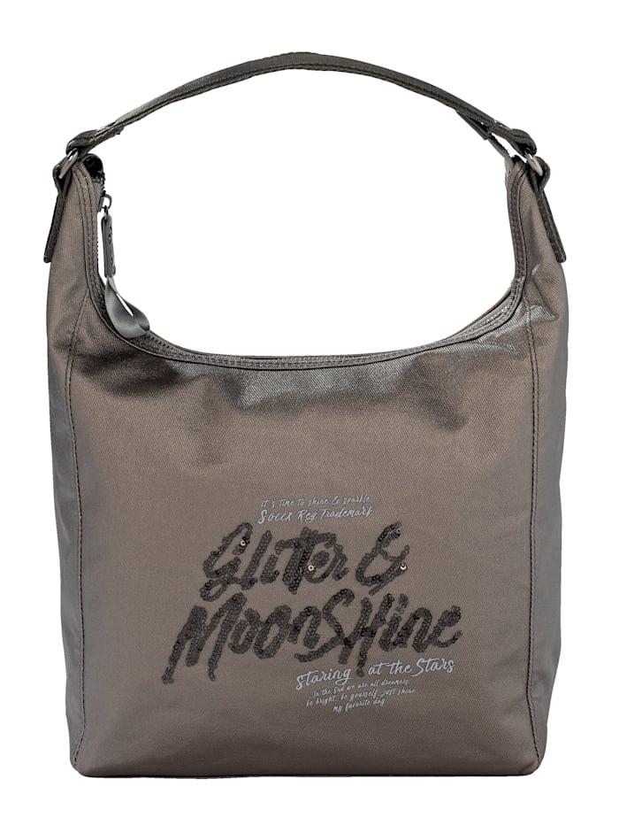 SOCCX Handtasche mit Paillettenstickerei, grau/metallic